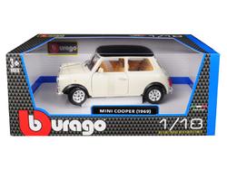 1969 Mini Cooper Beige with Black Top 1/18 Diecast Model Car by Bburago