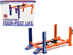 """Adjustable Four Post Lift Orange and Blue """"Union 76"""" for 1/18 Scale Diecast Model Cars by Greenlight"""
