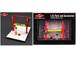 Two Post Lift Red and Yellow for 1/43 Scale Diecast Model Cars by GMP