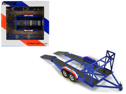 "Tandem Car Trailer with Tire Rack Blue ""Mopar"" for 1/43 Scale Model Cars by GMP"