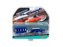 1962 Chevrolet Biscayne Wagon with Alameda Trailer Blue Tow & Go 1/64 Diecast Model by Maisto