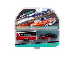 2004 Chevrolet Silverado SS with Car Trailer Red / Black Tow & Go 1/64 Diecast Model by Maisto