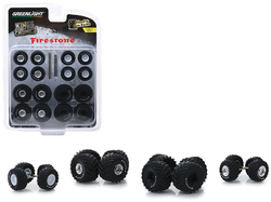 """""""Firestone"""" Wheel and Tire Multipack """"Kings of Crunch"""" Set of 24 pieces """"Wheel & Tire Packs"""" Series 1 1/64 by Greenlight"""
