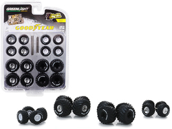 """""""Goodyear"""" Wheels and Tires Multipack """"Kings of Crunch"""" Set of 24 pieces """"Wheel & Tire Packs"""" Series 2 1/64 by Greenlight"""