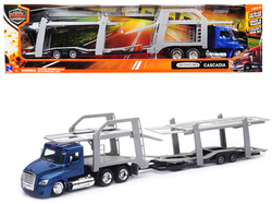 """Freightliner Cascadia with Twin Auto Carrier Blue and Gray """"Long Haul Trucker"""" 1/43 Diecast Model by New Ray"""