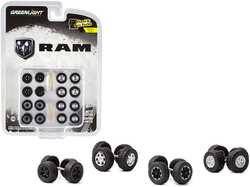 """RAM Trucks"" Wheels and Tires Multipack Set of 24 pieces ""Wheel & Tire Packs"" Series 4 1/64 by Greenlight"
