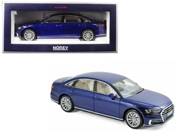 2017 Audi A8 L Blue Metallic 1/18 Diecast Model Car by Norev