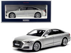 2018 Audi A8 L Silver Metallic 1/18 Diecast Model Car by Norev