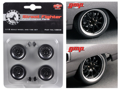 """1970 Plymouth Road Runner """"The Hummer"""" 10 Spoke Street Fighter Wheels and Tires Set of 4 1/18 by GMP"""