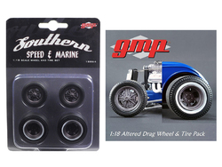 Drag Wheels and Tires Set of 4 Magnesium Finish from 1934 Altered Drag Coupe 1/18 by GMP