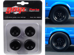 """Wheels and Tires Set of 4 from 1993 Ford Mustang Cobra 1320 Drag Kings """"King Snake"""" 1/18 by GMP"""