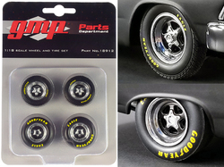 """Pro Star 5-Spoke Drag Wheels and Tires Set of 4 pieces from """"Pork Chop's 1966 Ford Fairlane"""" 1/18 by GMP"""