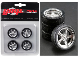 5-Spoke Chrome Custom Street Fighter Wheels and Tires Set of 4 pieces 1/18 by GMP