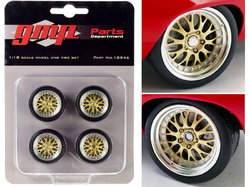 """Big Red Pro Touring Wheels and Tires Set of 4 pieces from """"1969 Chevrolet Camaro Big Red Camaro"""" 1/18 Scale by GMP"""