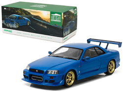 1999 Nissan Skyline GT-R (R34) Bayside Blue 1/18 Diecast Model Car by Greenlight