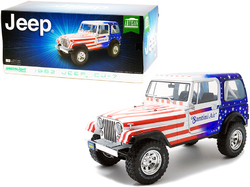 """1982 Jeep CJ-7 """"Santini Air"""" with American Flag Graphics 1/18 Diecast Model Car by Greenlight"""