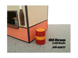 Oil Drum Accessory Set of 2 pieces for 1/18 Scale Models by American Diorama