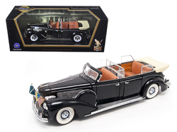 1939 Lincoln Sunshine V12 Limousine with Flags Black 1/24 Diecast Model Car by Road Signature