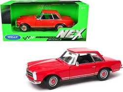 """1963 Mercedes Benz 230SL Coupe Red """"NEX Models"""" 1/24 Diecast Model Car by Welly"""