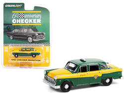 """1960 Checker Marathon Taxi Green and Yellow """"Checker 60th Anniversary"""" """"Anniversary Collection"""" Series 12 1/64 Diecast Model Car by Greenlight"""