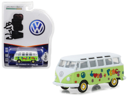 """1964 Volkswagen Type 2 Samba Bus Hippie """"Peace and Love"""" Light Green with Top Series 7 Club Vee Dub 1/64 Diecast Model Car by Greenlight"""