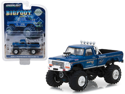 """1974 Ford F-250 Monster Truck Bigfoot #1 Blue """"The Original Monster Truck"""" (1979) Hobby Exclusive 1/64 Diecast Model Car by Greenlight"""