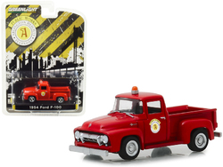 """1954 Ford F-100 Pickup Truck Red """"Public Works"""" Arlington Heights, Illinois """"Hobby Exclusive"""" 1/64 Diecast Model Car by Greenlight"""