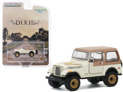 """1979 Jeep CJ-7 Golden Eagle """"Dixie"""" Cream with Brown Top """"Hobby Exclusive"""" 1/64 Diecast Model Car by Greenlight"""