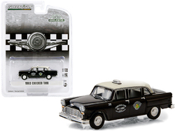 """1963 Checker Taxi Black with Cream Top """"Checker Cab"""" Dallas (Texas) """"Hobby Exclusive"""" 1/64 Diecast Model Car by Greenlight"""