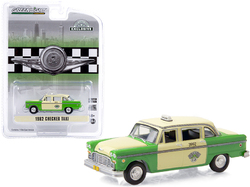 """1982 Checker Taxi Green and Yellow """"Checker Taxi Affl Inc."""" Chicago (Illinois) """"Hobby Exclusive"""" 1/64 Diecast Model Car by Greenlight"""