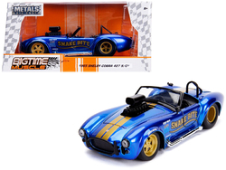 """1965 Shelby Cobra 427 S/C Candy Blue with Gold Stripes """"Snake Bite"""" """"Bigtime Muscle"""" Series 1/24 Diecast Model Car by Jada"""