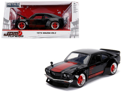 "1974 Mazda RX-3 Black with Red Stripe ""JDM Tuners"" 1/24 Diecast Model Car by Jada"