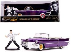 1956 Cadillac Eldorado Convertible Purple with Elvis Presley Diecast Figurine 1/24 Diecast Model Car by Jada