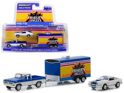 "1972 Ford F-100 Pickup Truck with 1976 Ford Mustang II Cobra II and Enclosed Car Hauler ""Charlie's Angels"" (1976-1981) TV Series ""Hollywood Hitch and Tow"" Series 6 1/64 Diecast Models by Greenlight"
