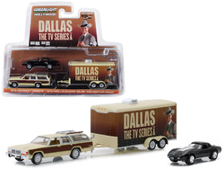"1979 Ford LTD Country Squire Wagon with 1978 Chevrolet Corvette and Enclosed Car Hauler ""Dallas"" (1978-1991) TV Series ""Hollywood Hitch and Tow"" Series 6 1/64 Diecast Models by Greenlight"