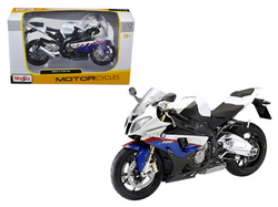 BMW S1000RR White and Blue with Red Stripe 1/12 Diecast Motorcycle Model by Maisto