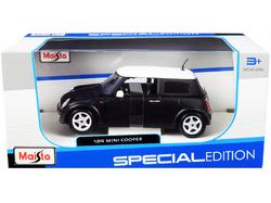 Mini Cooper Matt Black with White Top 1/24 Diecast Model Car by Maisto