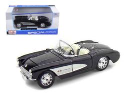 1957 Chevrolet Corvette Convertible Black 1/24 Diecast Model Car by Maisto