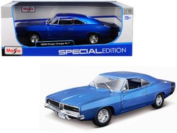 1969 Dodge Charger R/T Metallic Blue 1/18 Diecast Model Car by Maisto