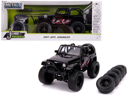 "2007 Jeep Wrangler Black with Extra Wheels ""Just Trucks"" Series 1/24 Diecast Model Car by Jada"