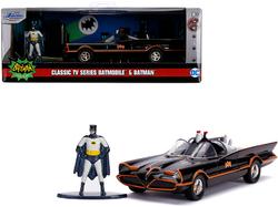 "1966 Batmobile with Diecast Batman Figurine ""Batman"" (1966-1968) Classic TV Series ""DC Comics"" ""Hollywood Rides"" Series 1/32 Diecast Model Car by Jada"