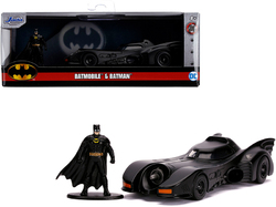 "1989 Batmobile with Diecast Batman Figurine ""Batman"" (1989) Movie ""DC Comics"" ""Hollywood Rides"" Series 1/32 Diecast Model Car by Jada"
