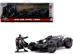 "2017 Batmobile with Diecast Batman Figurine ""Justice League"" (2017) Movie ""DC Comics"" ""Hollywood Rides"" Series 1/32 Diecast Model Car by Jada"