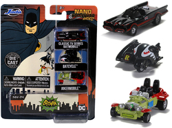 """Batman"" (1966-1968) Classic TV Series 3 piece Set ""Nano Hollywood Rides"" Diecast Models by Jada"