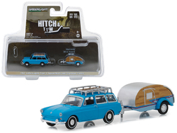 1961 Volkswagen Type 3 Squareback Blue with Tear Drop Trailer Hitch & Tow Series 14 1/64 Diecast Models by Greenlight