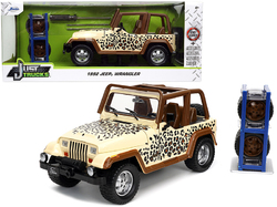 """1992 Jeep Wrangler Tan and Brown with Graphics and Extra Wheels """"Just Trucks"""" Series 1/24 Diecast Model Car by Jada"""