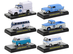 """Auto Trucks"" Set of 6 pieces Release 57 ""Pan American World Airways"" (Pan Am) IN DISPLAY CASES 1/64 Diecast Model Cars by M2 Machines"