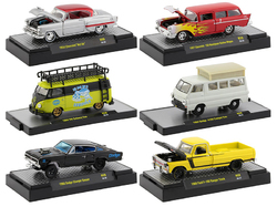 """""""Auto Shows"""" 6 piece Set Release 59 IN DISPLAY CASES 1/64 Diecast Model Cars by M2 Machines"""