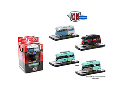 Auto Thentics 3 Cars Set of 1959 Volkswagen Double Cab Truck with Campers IN PLASTIC CASES 1/64 Diecast Model Cars by M2 Machines