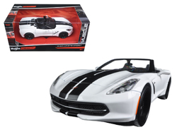 "2014 Chevrolet Corvette Stingray Convertible White/Black ""Modern Muscle"" 1/24 Diecast Model Car by Maisto"